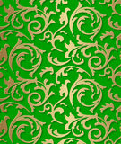 Seamless damask baroque golden pattern on green background Royalty Free Stock Images