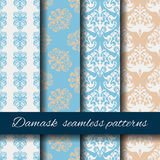 Seamless damask beige pattern set. Stock Photo