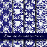 Seamless damask beige vector pattern set. Royalty Free Stock Images