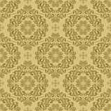 Seamless damask beige Wallpaper. Stock Photos