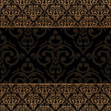 Seamless damask border Stock Photos