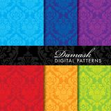 Seamless Damask Digital Pattern - Blue, Purple, Red, Orange, and Green. Patterns Royalty Free Stock Images
