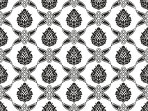 Seamless damask floral black-and-white texture. Seamless damask or victorian floral black-and-white vector texture for your design Stock Image