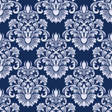 Seamless damask floral Pattern in blue colors. Stock Photography