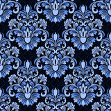 Seamless damask floral Pattern on geometric Background Royalty Free Stock Images
