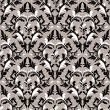 Seamless damask floral Wallpaper - black, grey and white Colors. Royalty Free Stock Photos