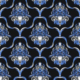Seamless damask floral Wallpaper for design. Blue and white colors vector illustration