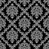 Seamless damask floral Wallpaper - gray Ornament on black Stock Photos