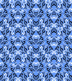Seamless Damask Floral Wallpaper On A Blue Background.