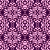 Seamless damask floral Wallpaper in pink-violet colors. Stock Image
