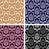 Seamless damask floral Wallpaper- set on four Variants. Is presented Stock Image