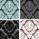 Seamless damask Ornament - set on four Variants Royalty Free Stock Images