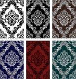 Seamless damask Ornament - Set of six Variants. Royalty Free Stock Photos