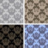 Seamless damask ornamental Wallpaper - set on four Variants Stock Photography