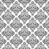 Seamless damask pattern. Black and white floral damask wallpaper pattern Stock Photography