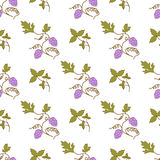 Seamless damask pattern with bunch of grapes Stock Image