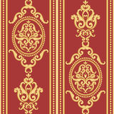 Seamless damask pattern. Gold and red texture Stock Images