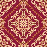 Seamless damask pattern. Golden beige on pink purple texture with chains. Vector illustration. Can use as background, t shirt design, textile print, clothing vector illustration