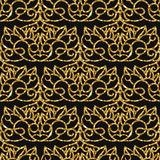 Seamless damask pattern with golden glitter. Royalty Free Stock Photo