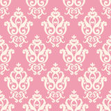 Seamless damask pattern. Pink texture in vintage rich royal style. Vector illustration. Can use as background for birthday card, wedding invitation, textile vector illustration
