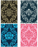 Seamless damask pattern set Royalty Free Stock Photo
