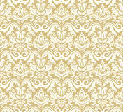 Seamless Damask Pattern. Traditional classic orient ornament. Golden and white pattern Stock Image