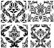 Seamless damask patterns set. Damask seamless vector patterns set.  For easy making seamless pattern just drag all group into swatches bar, and use it for Stock Image