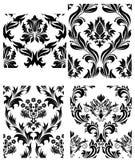 Seamless damask patterns set vector illustration