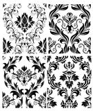 Seamless damask patterns set Royalty Free Stock Images