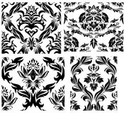 Seamless damask patterns set. Damask seamless vector patterns set.  For easy making seamless pattern just drag all group into swatches bar, and use it for Stock Photo
