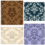 Seamless damask patterns set. Damask seamless vector backgrounds set.  For easy making seamless pattern just drag all group into swatches bar, and use it for Royalty Free Stock Image
