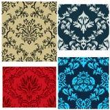 Seamless damask patterns set royalty free stock image