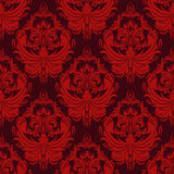 Seamless damask retro Wallpaper in red Colors for Design Royalty Free Stock Images
