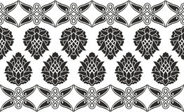 Seamless damask or victorian floral texture. Seamless damask or victorian floral black-and-white vector texture (border Royalty Free Stock Photo