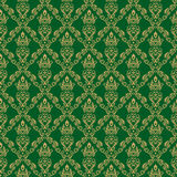 Seamless Damask Wallpaper 1 Green Color Royalty Free Stock Images
