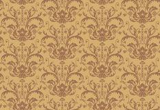Seamless brown Damask Wallpaper pattern Royalty Free Stock Photos