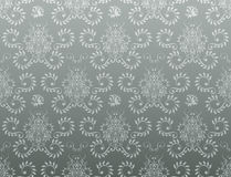 Seamless damask wallpaper. Vector illustration of seamless pattern with blue background Royalty Free Stock Images