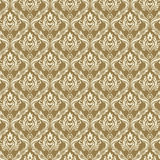 Seamless Damask Wallpaper 3 Beige Color Stock Photos