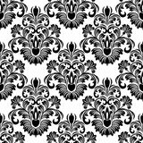 Seamless  damask Wallpaper for design - black on white Stock Image