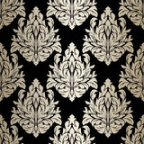 Seamless damask Wallpaper - silver Ornament on black. Royalty Free Stock Photography