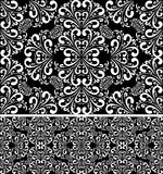 Seamless damask white Pattern on the black Background. Stock Photo
