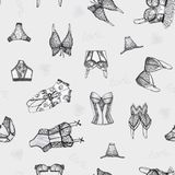 Seamless damunderkl?der m?nstrar vektor illustrationer