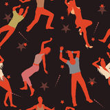 Seamless dancing people pattern Stock Photo