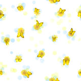 Seamless dandelions and butterflies. Repeatable yellow butterflies, from many perspectives, and dandelions, studio photographed with some blurred circles Royalty Free Stock Image