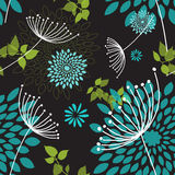 Seamless Dandelions and Flowers Pattern Royalty Free Stock Images