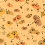 Seamless dandelions pattern on the green background. stock illustration