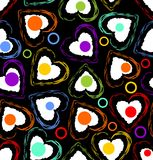 Seamless dark background composed of grunge hearts. In rainbow colors Royalty Free Stock Images