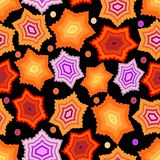 Seamless dark background with gritty orange and purple stars Stock Photography