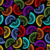 Seamless dark background with rainbow semicircle patterns Stock Photos