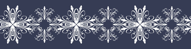 Seamless dark blue border with snowflakes Royalty Free Stock Photo